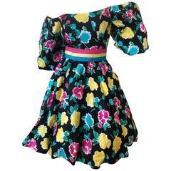 Victor Costa 80's Off the Shoulder Floral Belted Dress w Belt & Balloon Sleeves