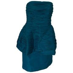 Victor Costa 80s Teal Taffeta Dress