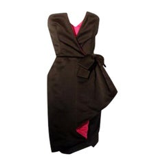 Victor Costa Black and Pink Silk Cocktail Dress, Circa 1980s