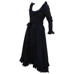 Victor Costa Black Peasant Style Ruffled Dress, 1970's