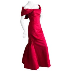 Victor Costa Dramatic 1980's Off the Shoulder Red Mermaid Evening Dress