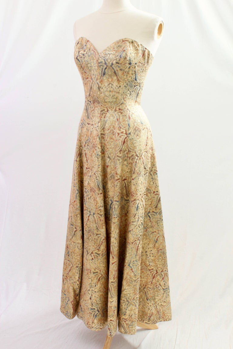 Victor Costa For Neiman Marcus Gold Brocade Evening Gown Strapless