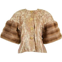 Victor Costa for Neiman Marcus Vintage Brocade Jacket Extravagant Faux Fur Cuffs