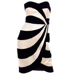 Victor Costa Ivory Satin and Black Velvet Strapless Vintage Evening Dress