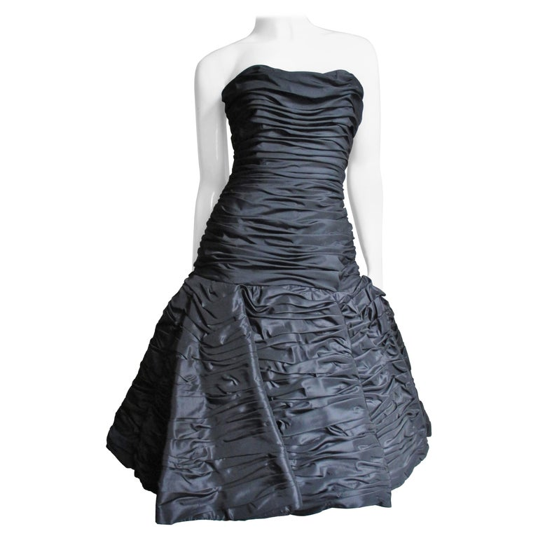 Victor Costa Ruched Bustier Dress 1980s For Sale