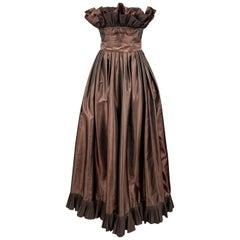 VICTOR COSTA Size 4 Brown Taffeta Strapless Ruffle Gown