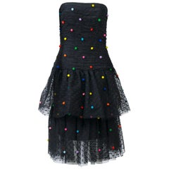 Victor Costa Tiered Net Dress w/Multi Pompoms