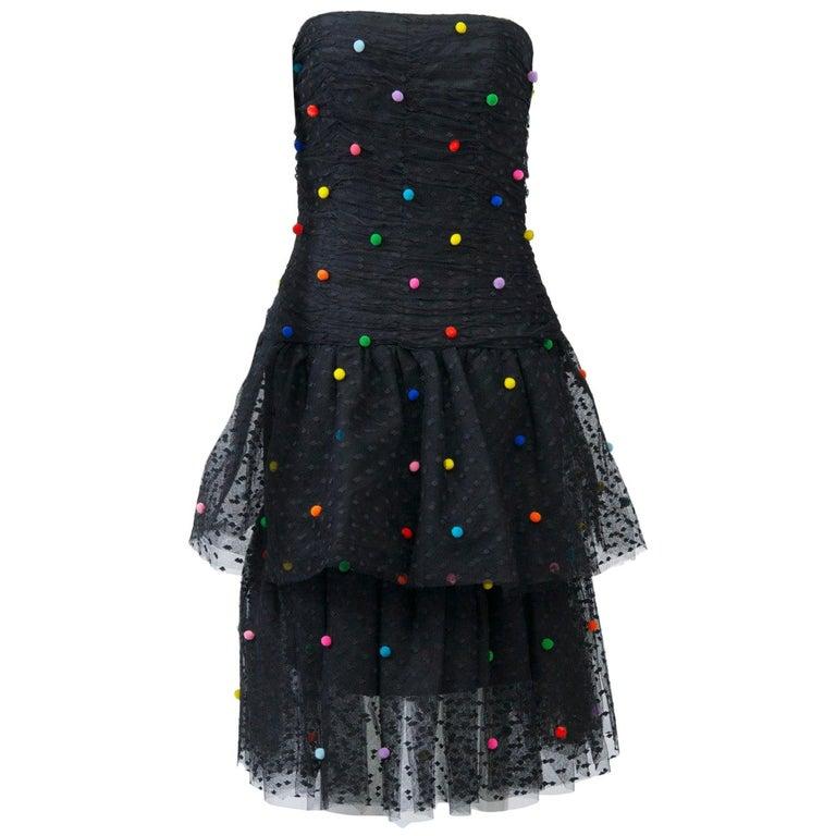 Vintage 80s Victor Costa Metallic Off Shoulder Sculptural Dress Gown With Bag S M 10