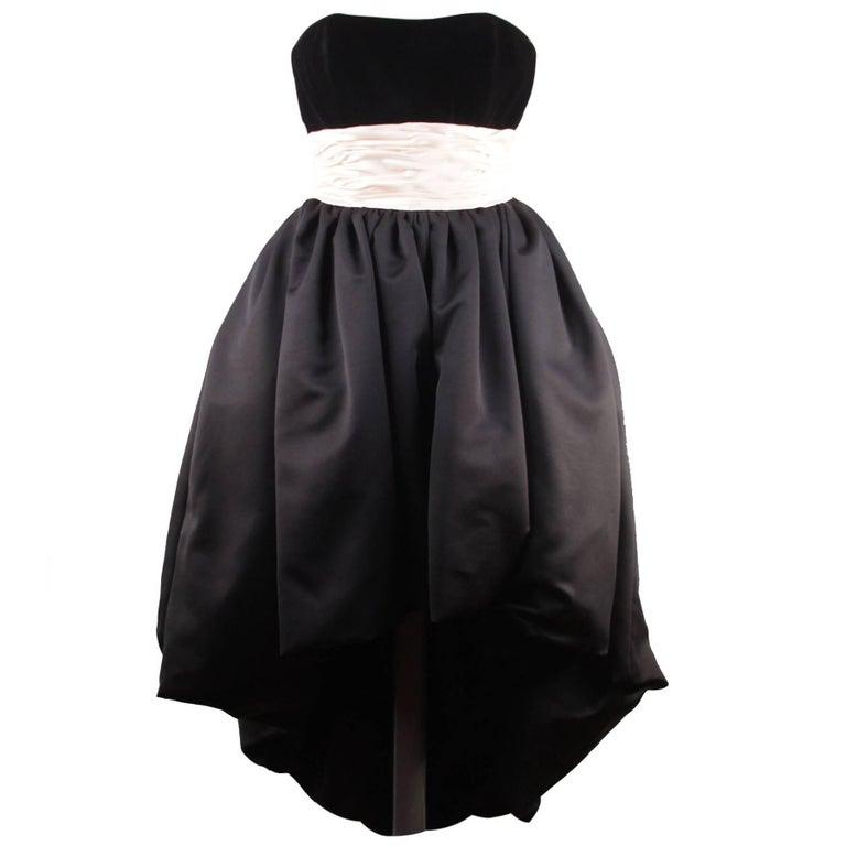 VICTOR COSTA Vintage Black & Pink BUSTIER PROM DRESS w/ Dip Hem SIZE 8 US
