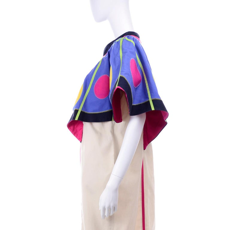 Victor Costa Vintage Maxi Dress W/ Colorful Butterfly Wing Sleeves  For Sale 5