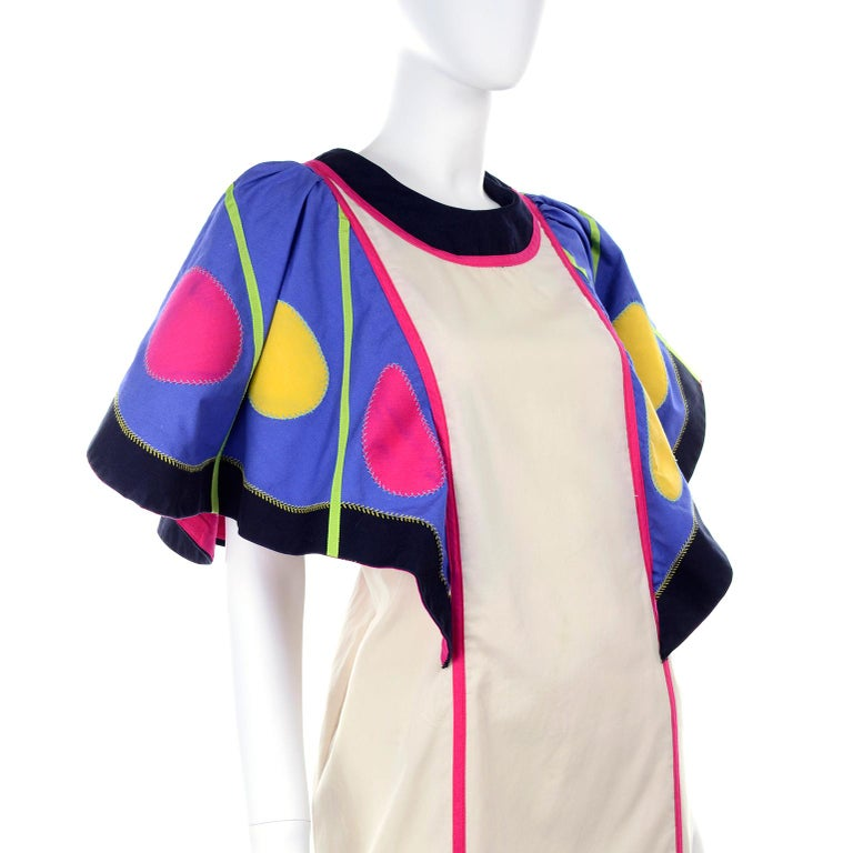 Victor Costa Vintage Maxi Dress W/ Colorful Butterfly Wing Sleeves  For Sale 6