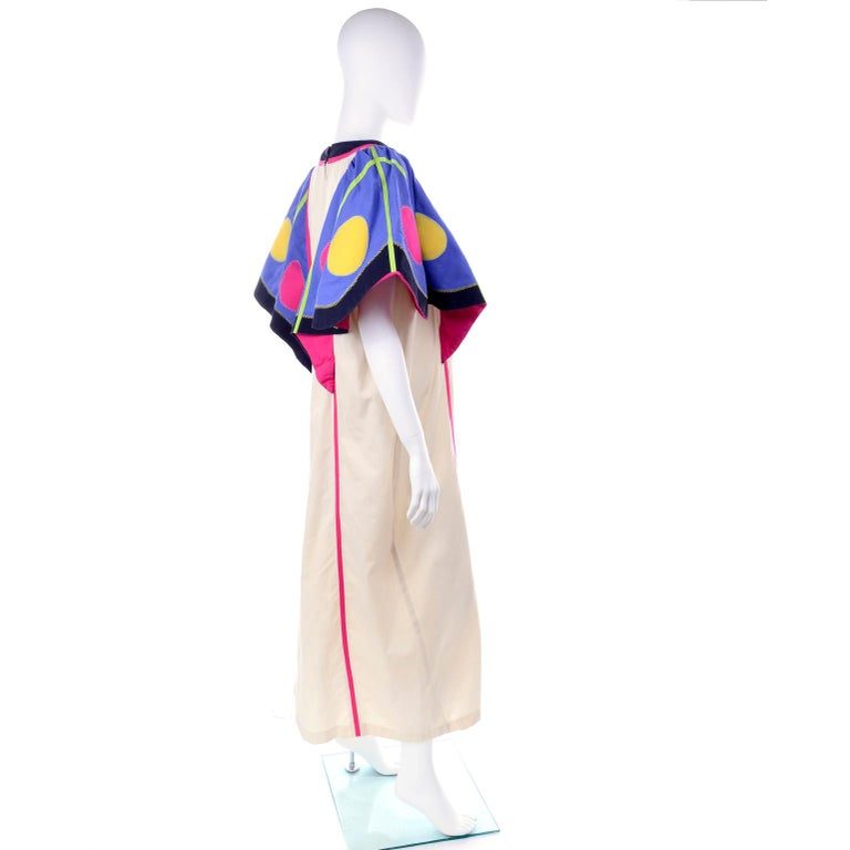 Beige Victor Costa Vintage Maxi Dress W/ Colorful Butterfly Wing Sleeves  For Sale