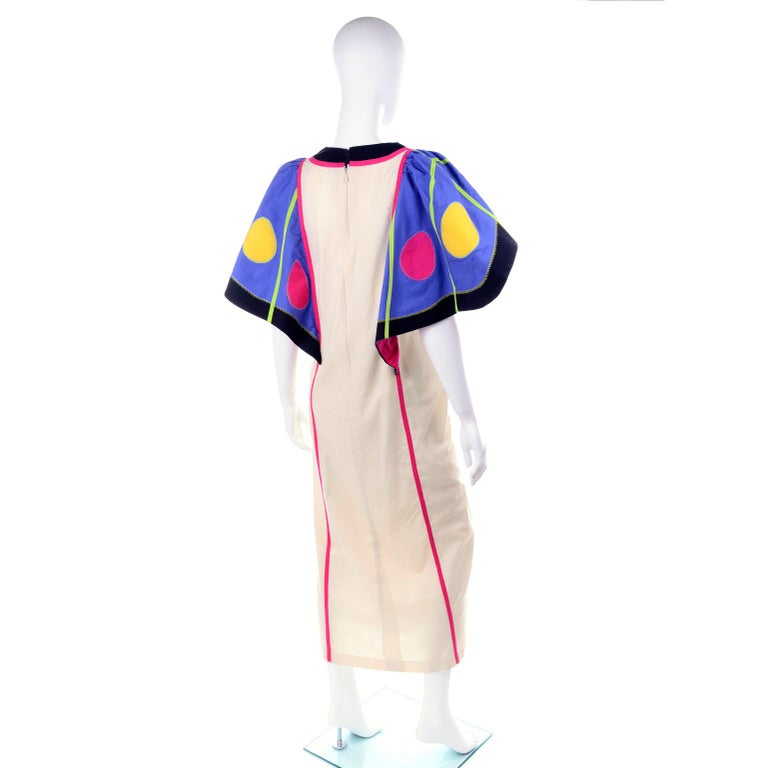 Victor Costa Vintage Maxi Dress W/ Colorful Butterfly Wing Sleeves  In Good Condition For Sale In Portland, OR