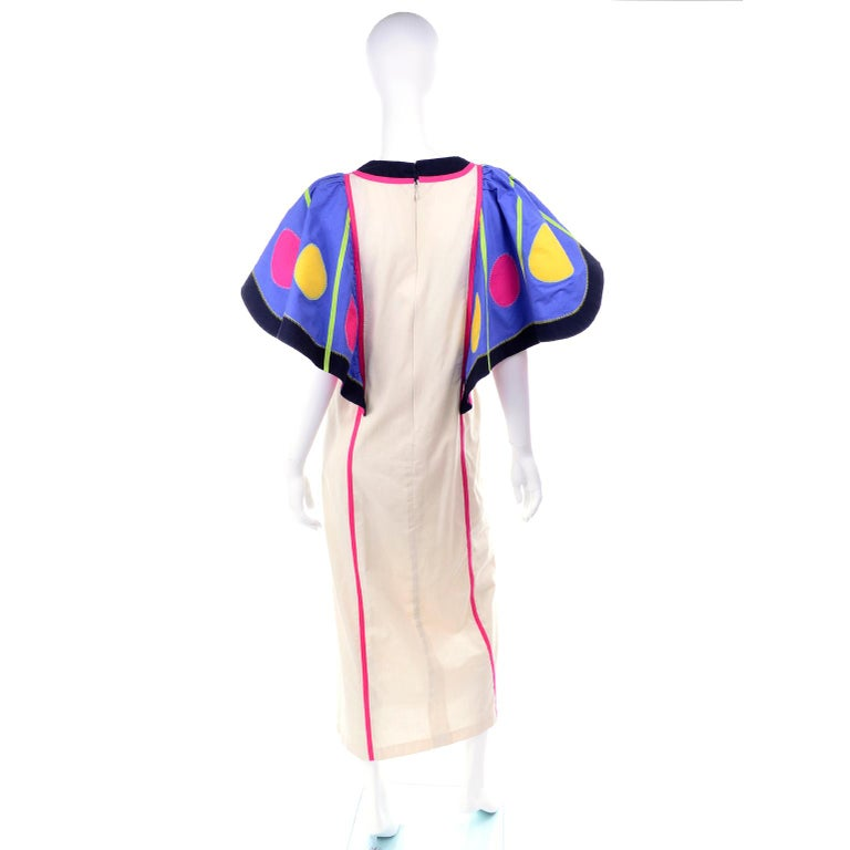 Women's Victor Costa Vintage Maxi Dress W/ Colorful Butterfly Wing Sleeves  For Sale