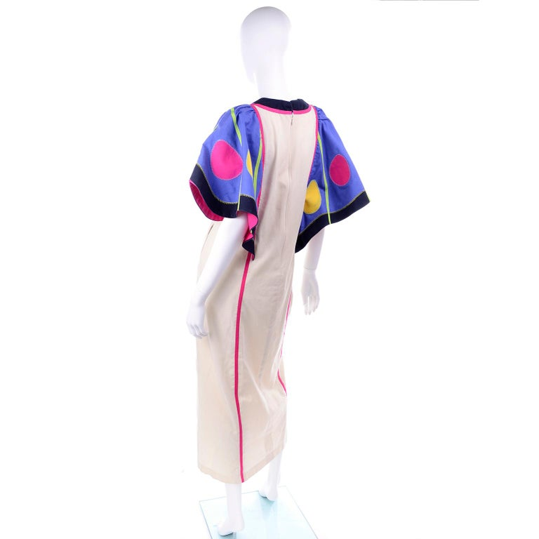 Victor Costa Vintage Maxi Dress W/ Colorful Butterfly Wing Sleeves  For Sale 1