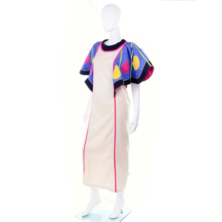 Victor Costa Vintage Maxi Dress W/ Colorful Butterfly Wing Sleeves  For Sale 2