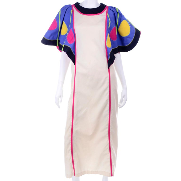Victor Costa Vintage Maxi Dress W/ Colorful Butterfly Wing Sleeves  For Sale 3