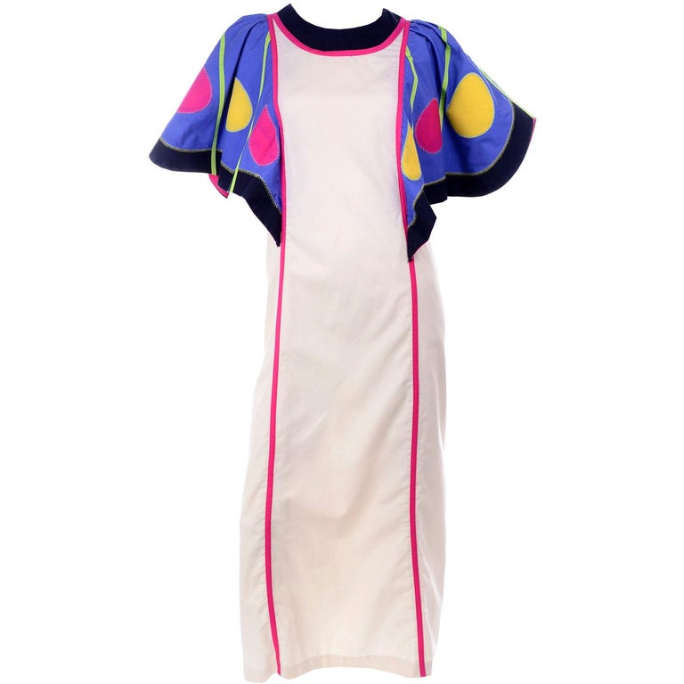 Victor Costa Vintage Maxi Dress W/ Colorful Butterfly Wing Sleeves  For Sale