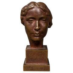 """Victor D. Salvatore """"Mask of a Woman"""" Bronze Sculpture"""