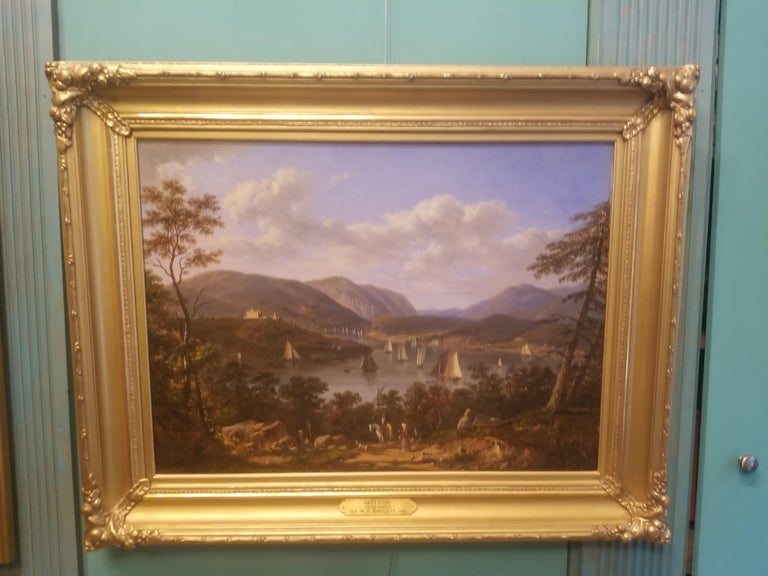 West Point on the Hudson River - Hudson River School Painting by Victor de Grailly