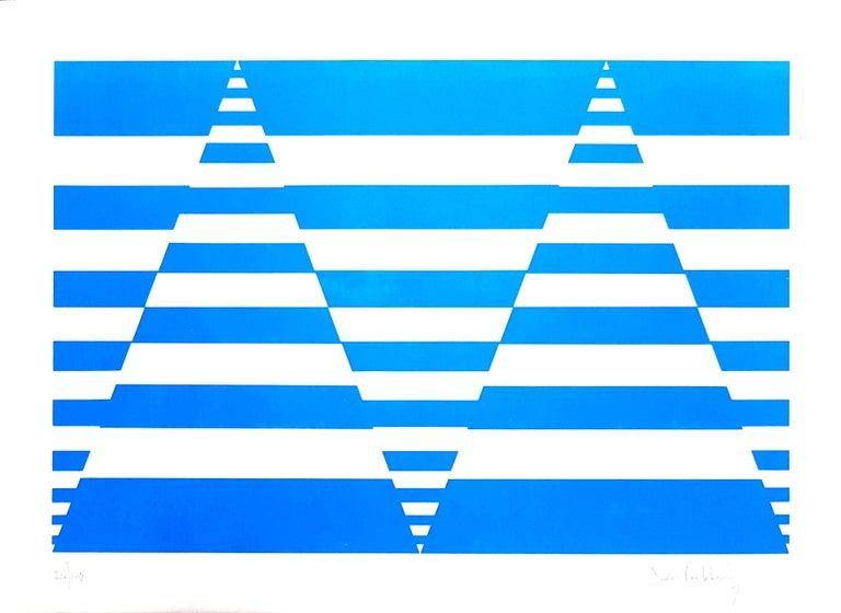 Victor Debach Abstract Print - Blue Composition