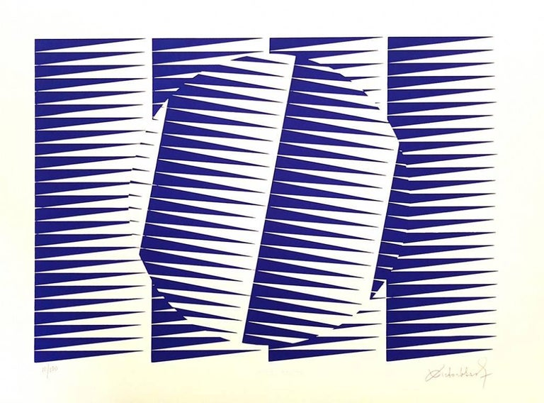 Victor Debach Abstract Print - Blue Composition - Original Screen Print by V. Debach - 1970s