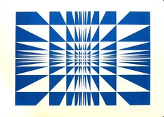Blue Composition - Original Screen Print by V. Debach - 1970s