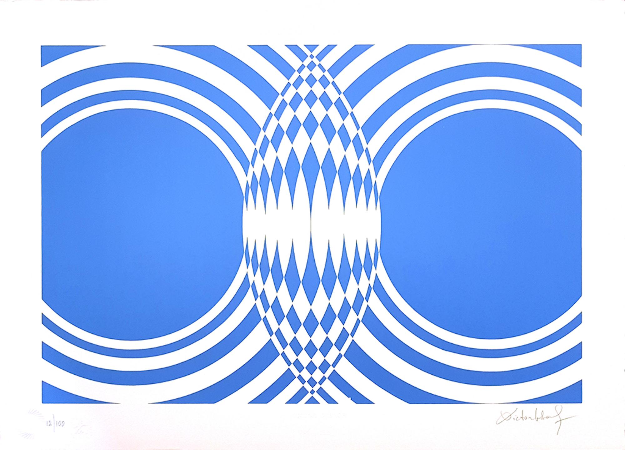 Blue Composition - Original Screen Print by V. Debach - 1970s