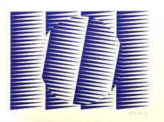 Blue Composition - Original Screen Print by Victor Deach - 1970s