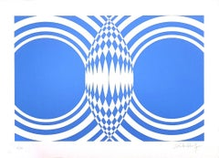 Blue Composition - Original Screen Print on Paper by Victor Debach - 1970s