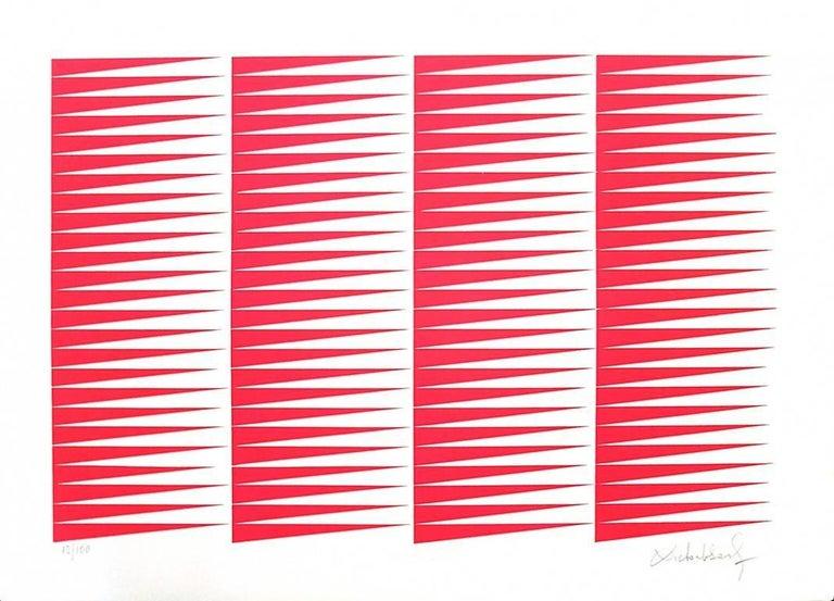 Victor Debach Abstract Print - Fuchsine Composition - Original Screen Print by V. Debach - 1970s