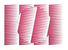 Fuchsine Composition - Original Screen Print by V. Debach - 1970s