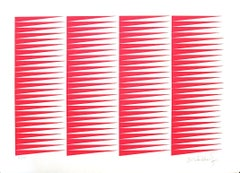 Fuchsine Composition - Original Screen Print by Victor Debach - 1970s