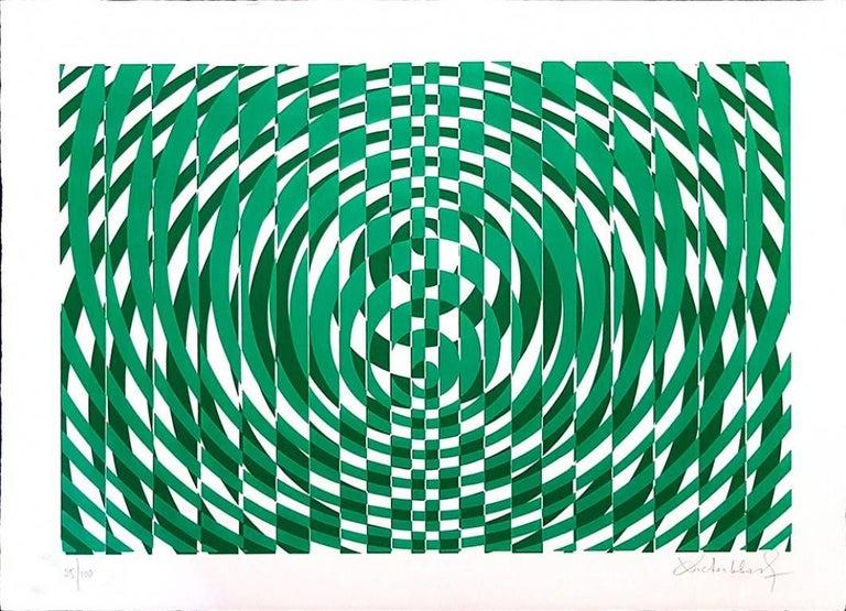 Victor Debach Abstract Print - Green Composition - Original Screen Print by V. Debach - 1970s