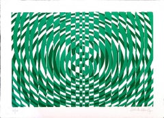 Green Composition - Original Screen Print by V. Debach - 1970s