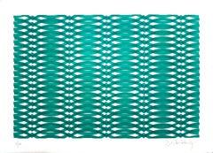 Green Composition - Original Screen Print by V. Debach - 1970s