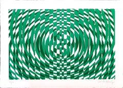 Green Composition - Original Screen Print by Victor Debach - 1970s