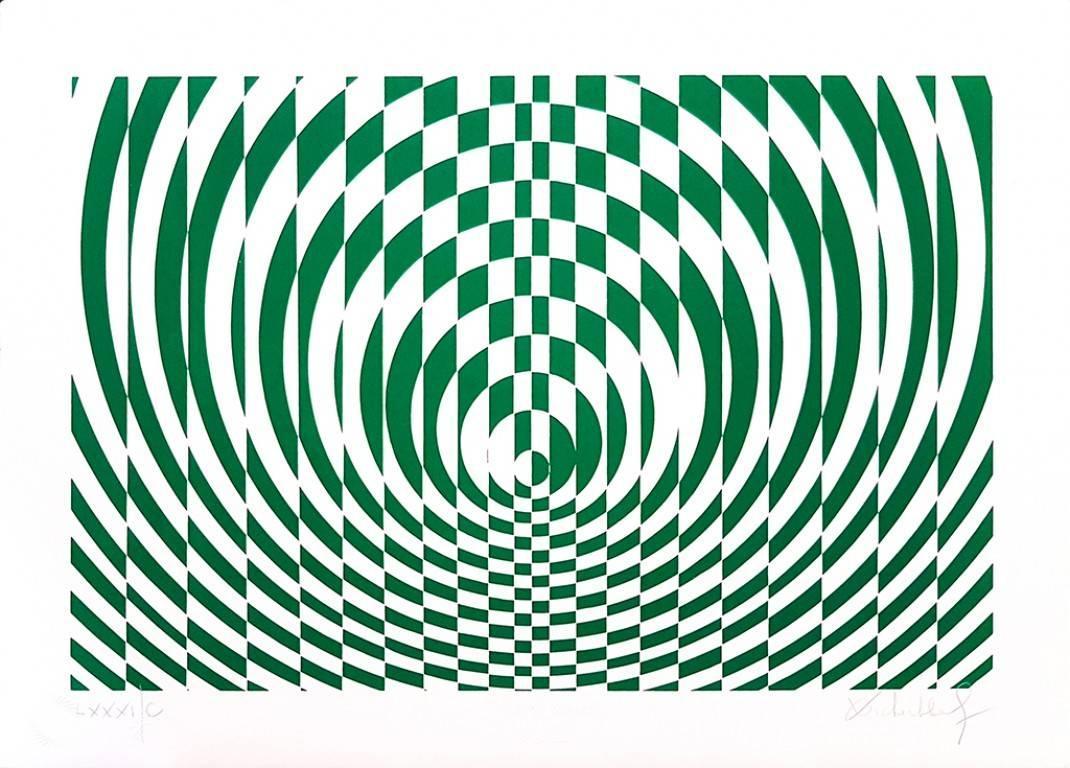 Green Composition - Original Screen Print y V. Debach - 1970s