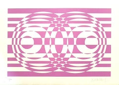Purple Composition - Original Screen Print on Paper by Victor Debach - 1970s