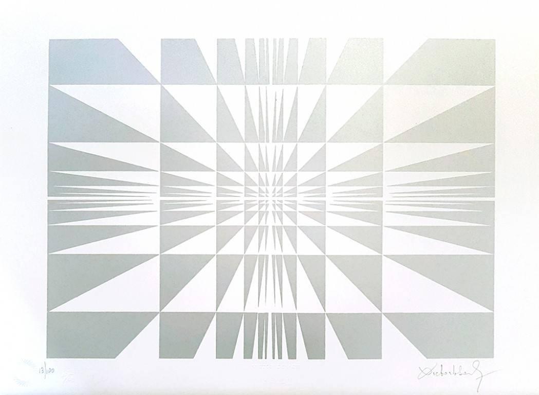 Silver Composition - Original Screen Print by V. Debach - 1970s