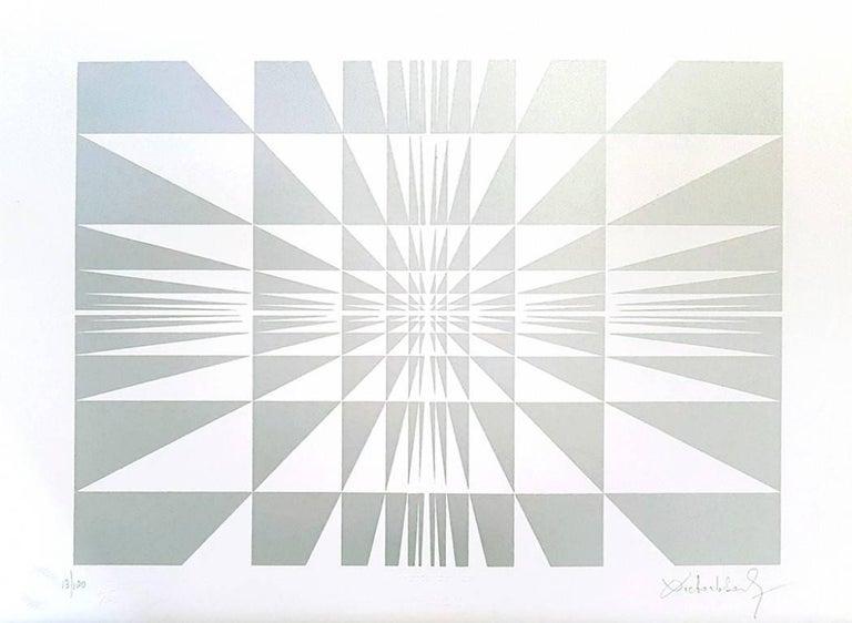 Victor Debach Abstract Print - Silver Composition - Original Screen Print by V. Debach - 1970s