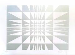 Silver Composition - Original Screen Print by Victor Debach