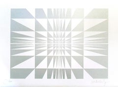 Silver Composition - Original Screen Print on Paper by Victor Debach - 1970s