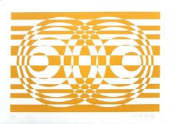 Two Yellows and Orange Compositions - Original ScreenPrints by V. Debach - 1970s
