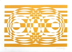 Yellow Composition - Original Screen Print on Paper by Victor Debach - 1970s