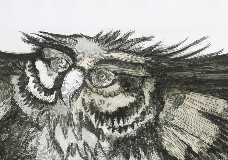 Old Owl, Etching by Victor Delfin For Sale 1