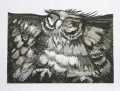 Old Owl, Etching by Victor Delfin