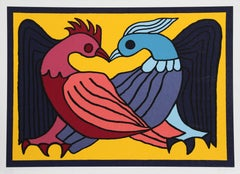 Two Kissing Doves, Silkscreen by Victor Delfin