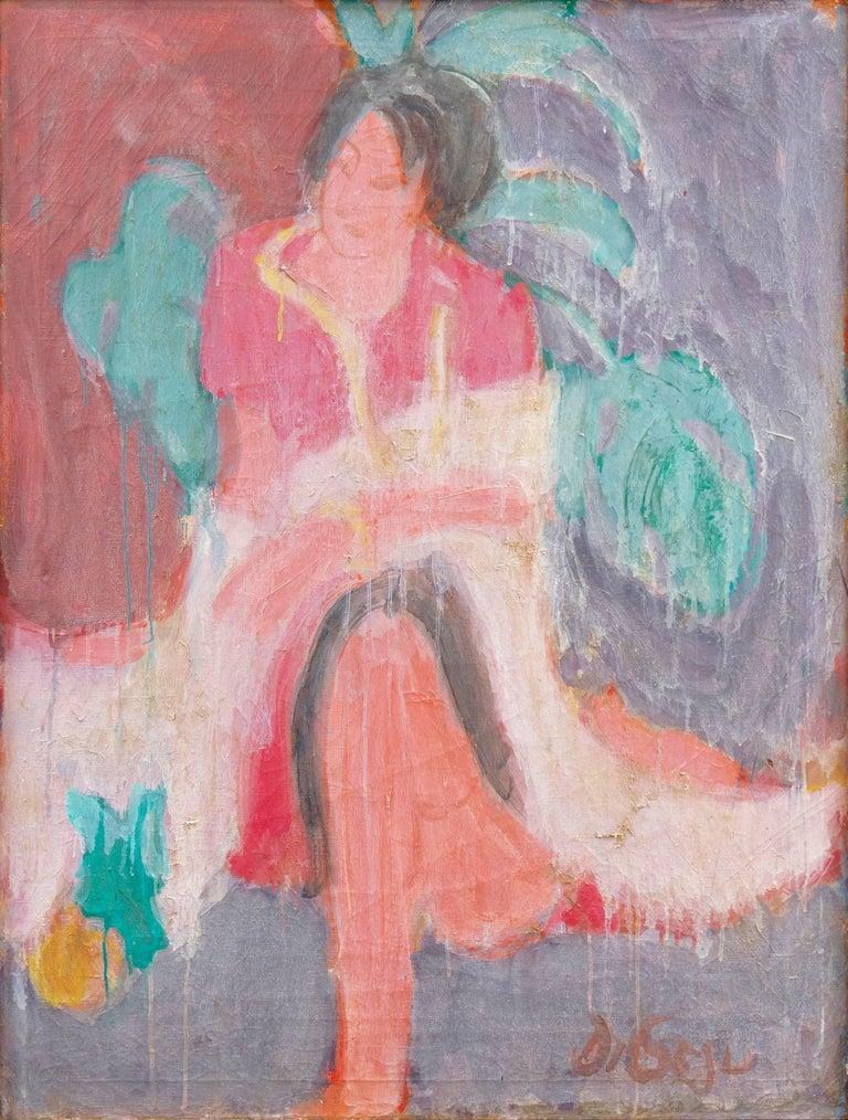 Victor Di Gesu - Seated Woman Knitting   Painting, Art