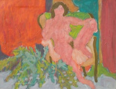 Seated Nude in Interior   (Post-Impressionism, Modernism, red, green, framed)